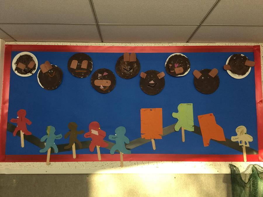 Traditional tales topic- bear making, gingerbreadman puppets, acting out the story.