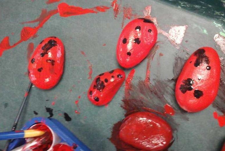 Painting ladybird pebbles!