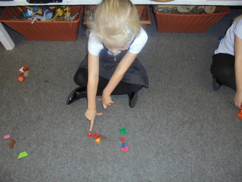 We have been using our fingers to count our objects carefully.