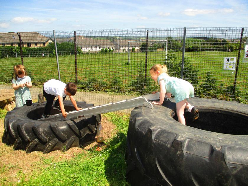 """Our giant tyre supplied by """"West Webbery Farm"""" (home of Webber Moos Milk)."""