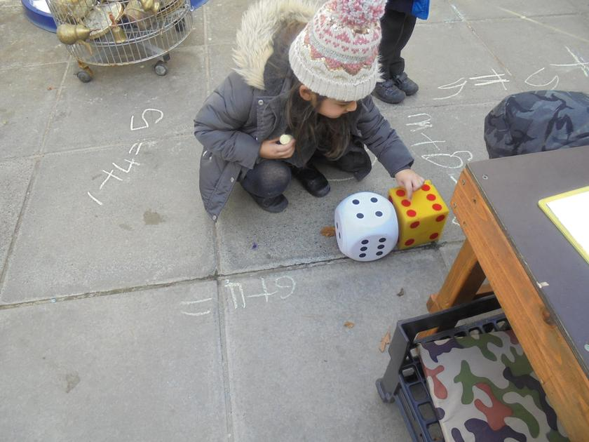 Counting the dots on the dice carefully!