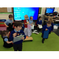 Imitating Mrs Hughes helps us to learn together. We also develop our language.
