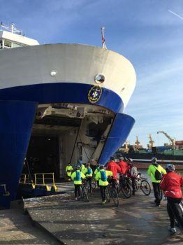 Boarding ferry for return trip