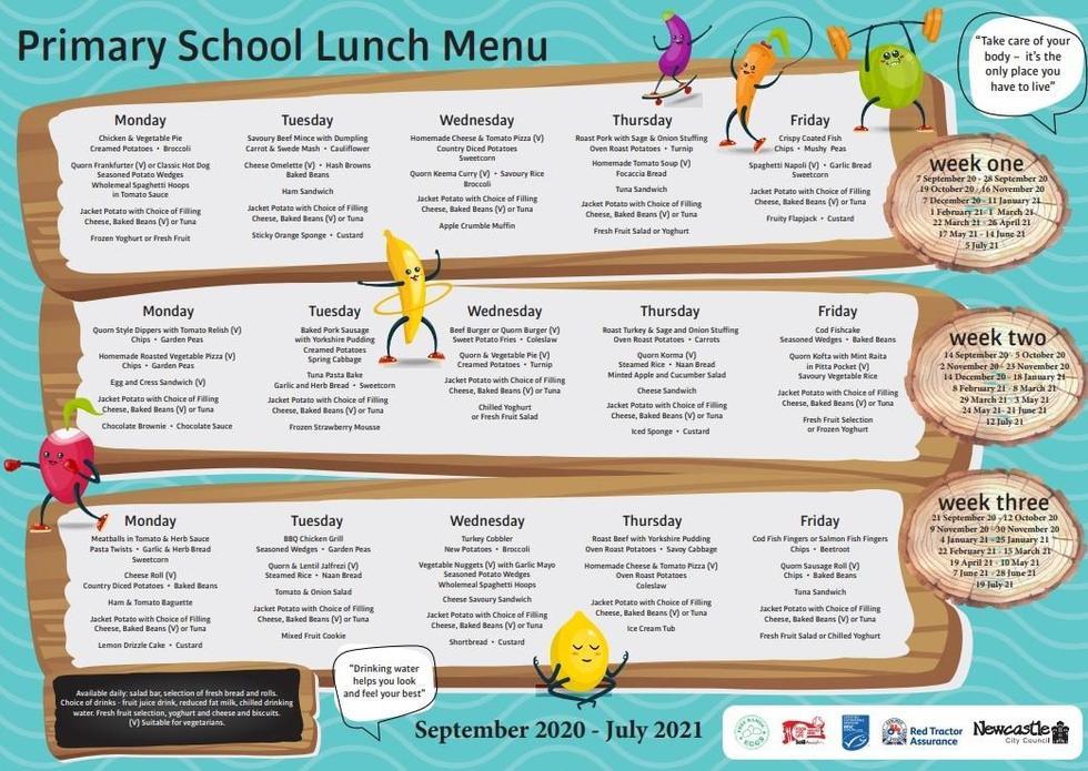 Primary School Lunch Menu 2020-2021