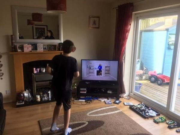 Harry M joining in with the Joe Wicks workout