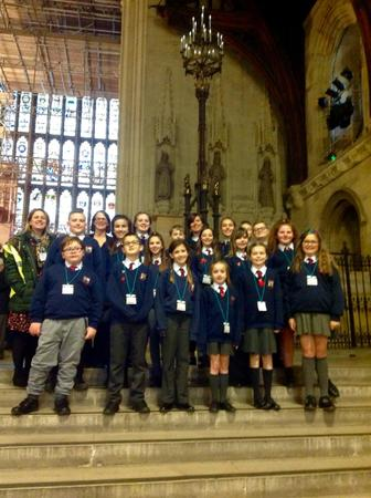 Here we all are on the steps in the Great Hall.