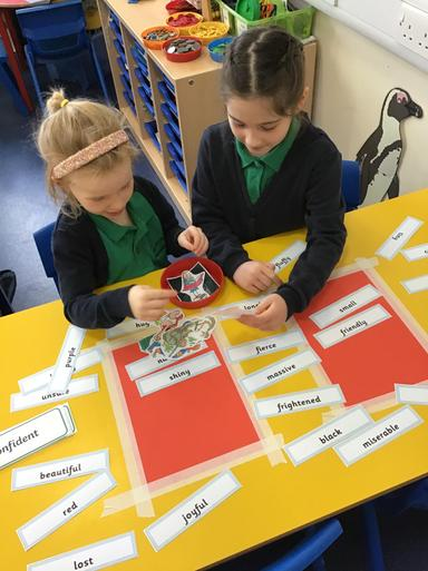 We recapped adjectives and matched them to book characters such as the Twits!