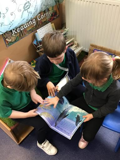 We LOVE stories in Class 6 - here's some story sharing in the book corner!