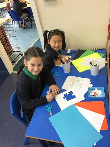 Class 6 are super creative - we each designed our own jigsaw piece for our puzzle!