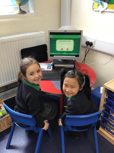 We used the computer to practise our number bonds!