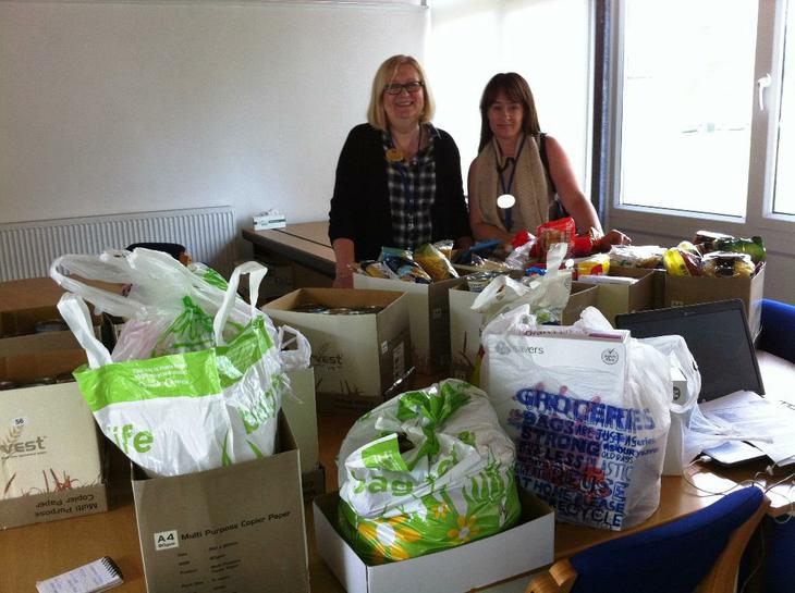 Mrs Knight and Mrs Jones deliver parent donations!