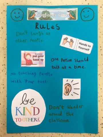 Shanaya's poster about the classroom rules