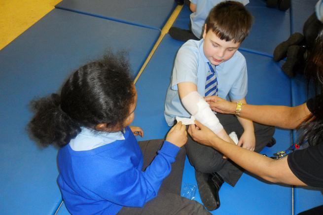 The correct application of a bandage!