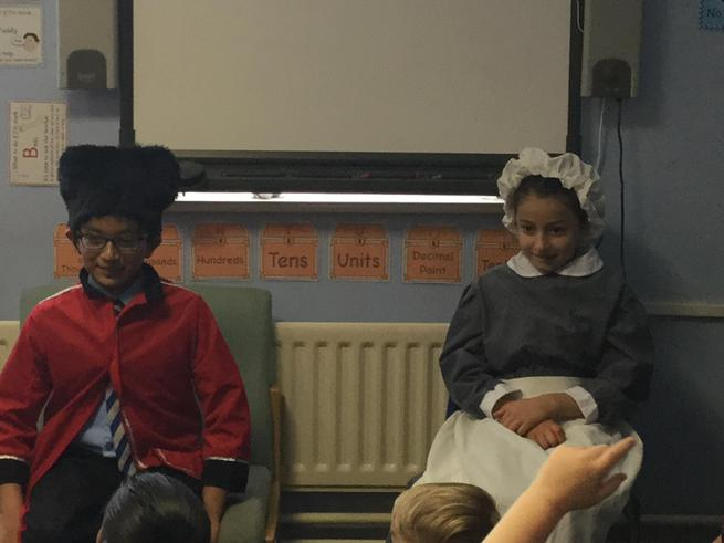 A rich Victorian man and his maid.