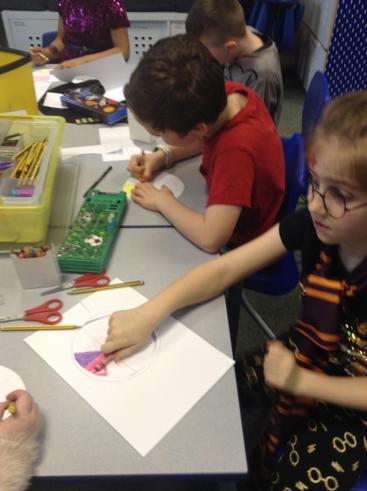 Making colour wheels.