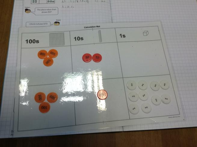 We used Place Value Counters to represent numbers.