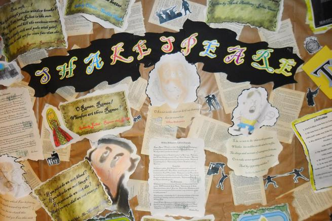 We produced a display all about Shakespeare.