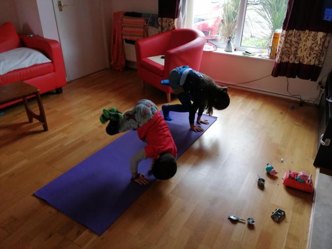 Doing cosmic kids yoga