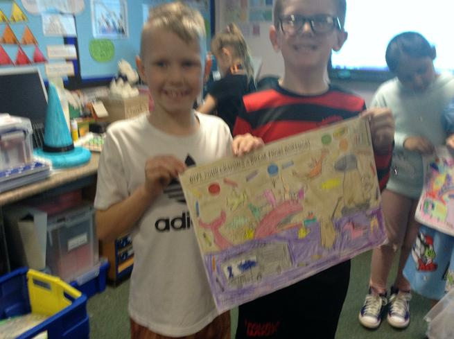 We coloured these posters using crayons.