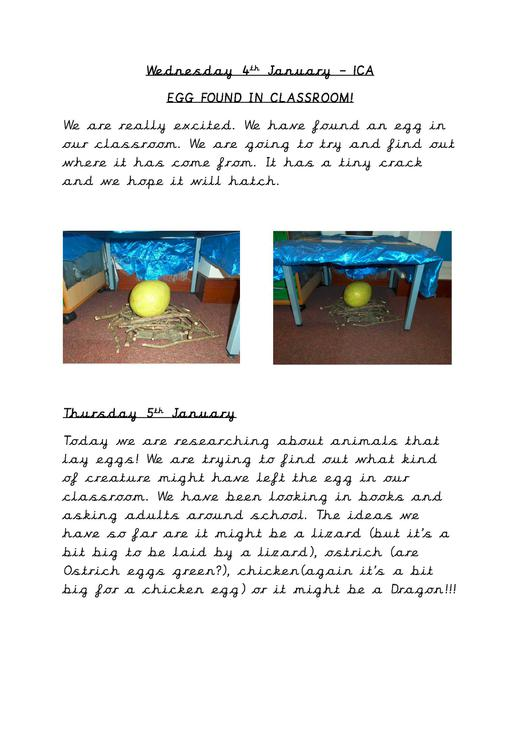 An egg found in the classroom!