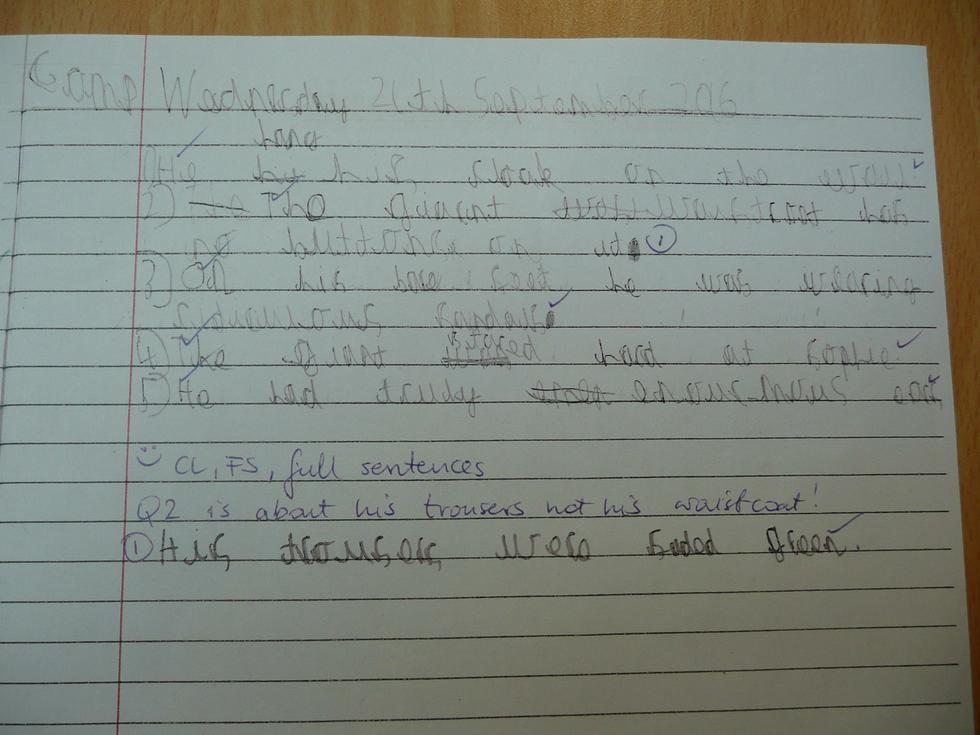 Leighton (good punctuation and handwriting)