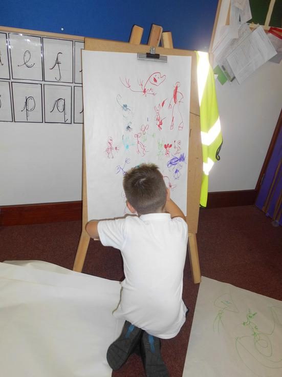 Drawing on the easle.