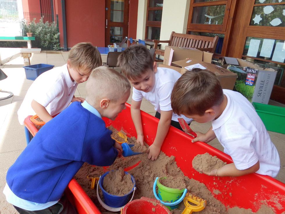 Making sandcastles.