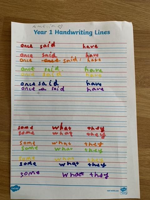Lovely colourful handwriting Amelia 🌈