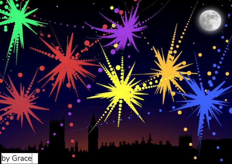 Grace made a fireworks picture on Purple Mash!