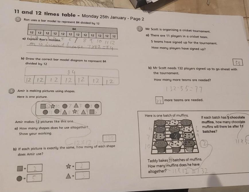 Great 11 and 12 times tables work by Rehan!