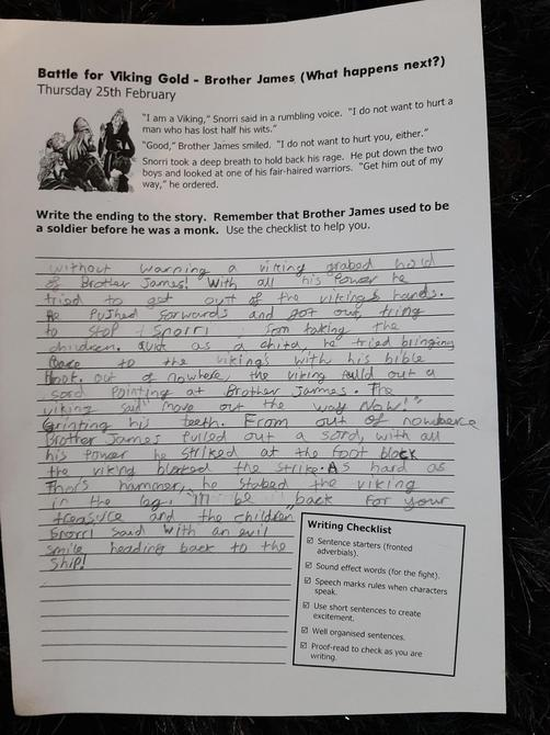 Excellent use of Fronted adverbials and speech marks Danny P