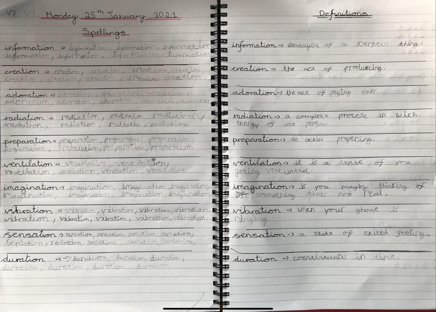 Spelling definitions by Matthew