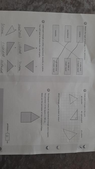 Well done Danny. Can you name the three types of triangles you have learned about?