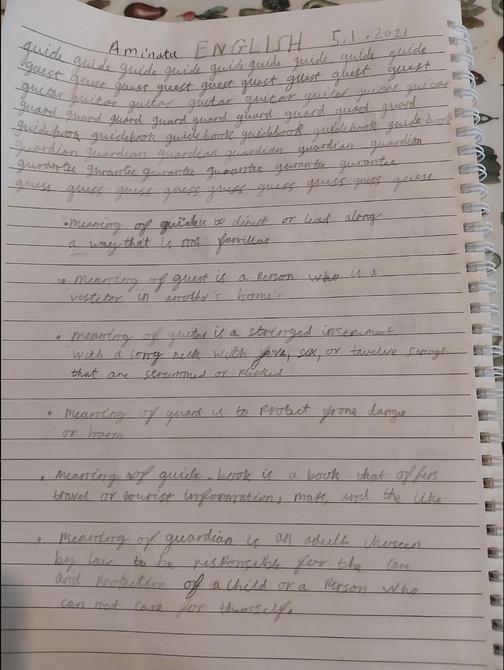 Handwriting practise by Aminata