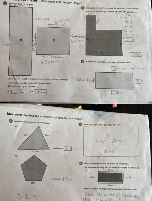 Perfect perimeter work by Sienna - I love all your jottings and workings out!