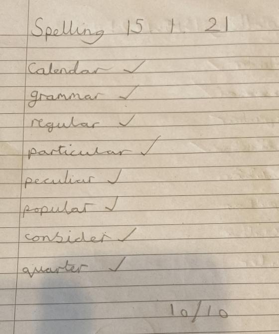 Full marks on the spellings Sienna - awesome!