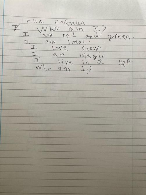Have you described the elf? A great description Ella
