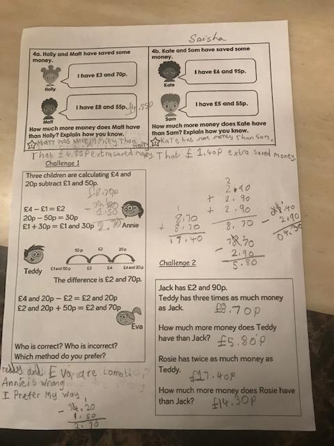 Super maths work Saisha!