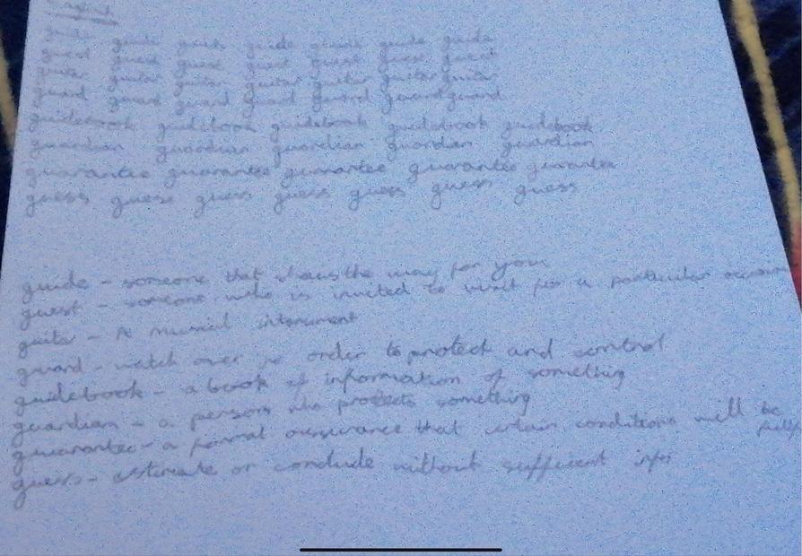 Tianna's handwriting and dictionary skills