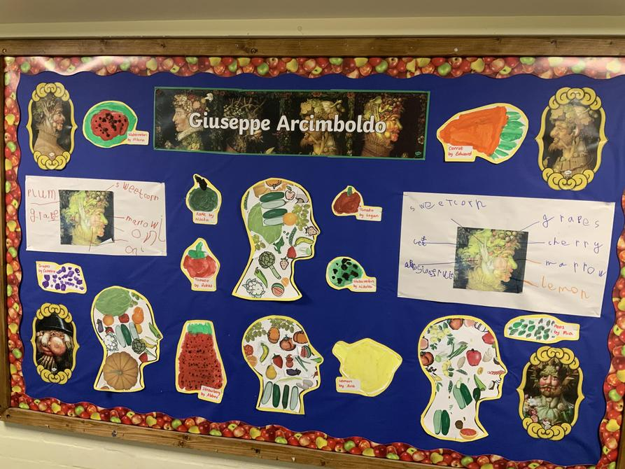 Last term we made art work based on Arcimboldo