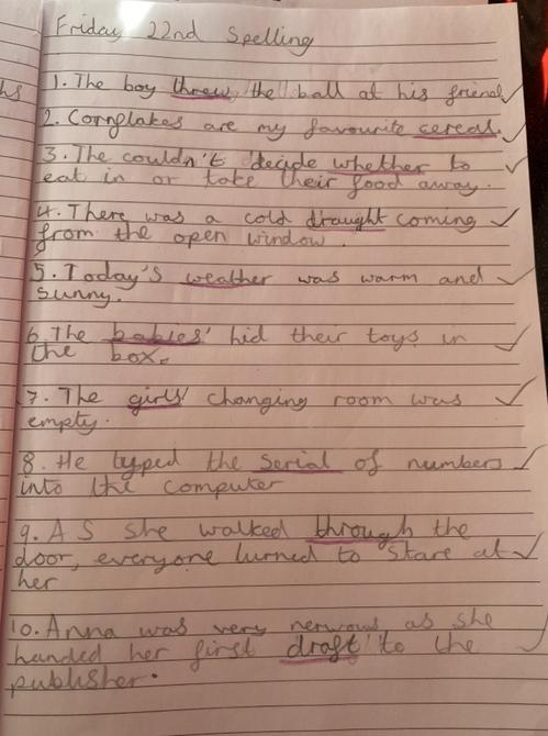 A full house for the spellings by Sienna - well done!
