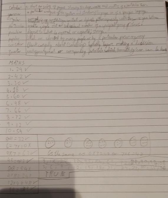 Spellings and Maths by Rehan - great work!