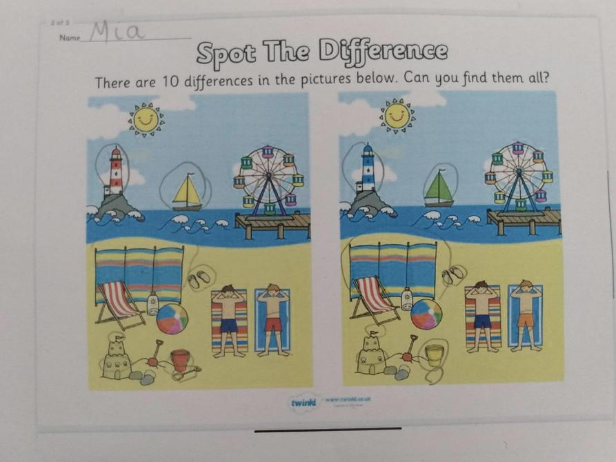 Well done with finding the differences Mia