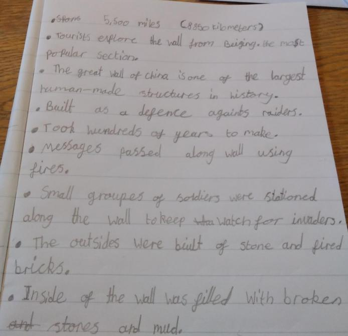 Lovely notes about the Great Wall of China Grace!