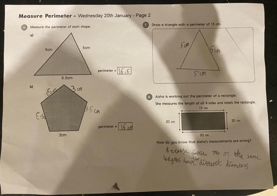 Great perimeter maths learning by Talia