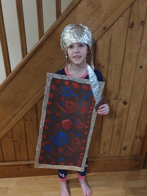 An excellent Roman shield, helmet and sword! Great work!