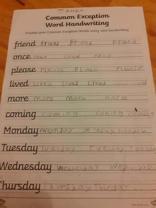 Lovely handwriting Zahra!