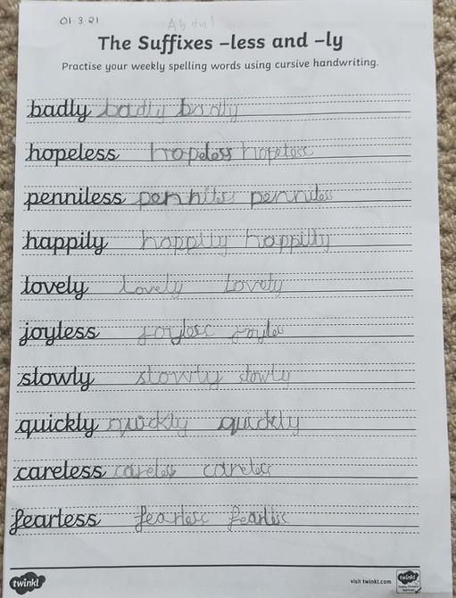 Neat handwriting Abdul