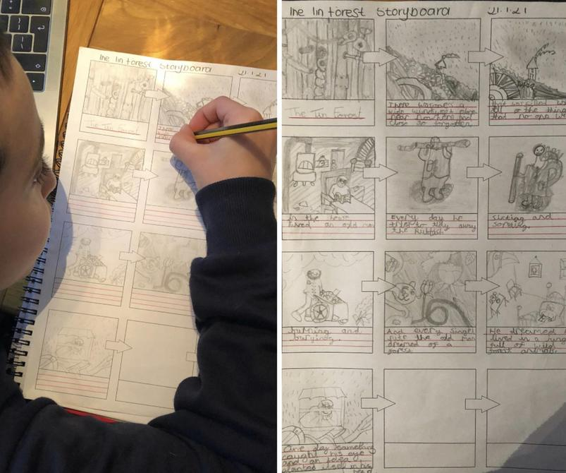 A truly awesome 'Tin Forest' storyboard by Matthew - I am jealous of your skill!