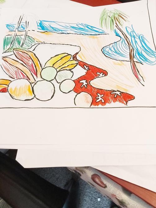 A beautiful interpretation  'Tahiti and picnic' Aminata